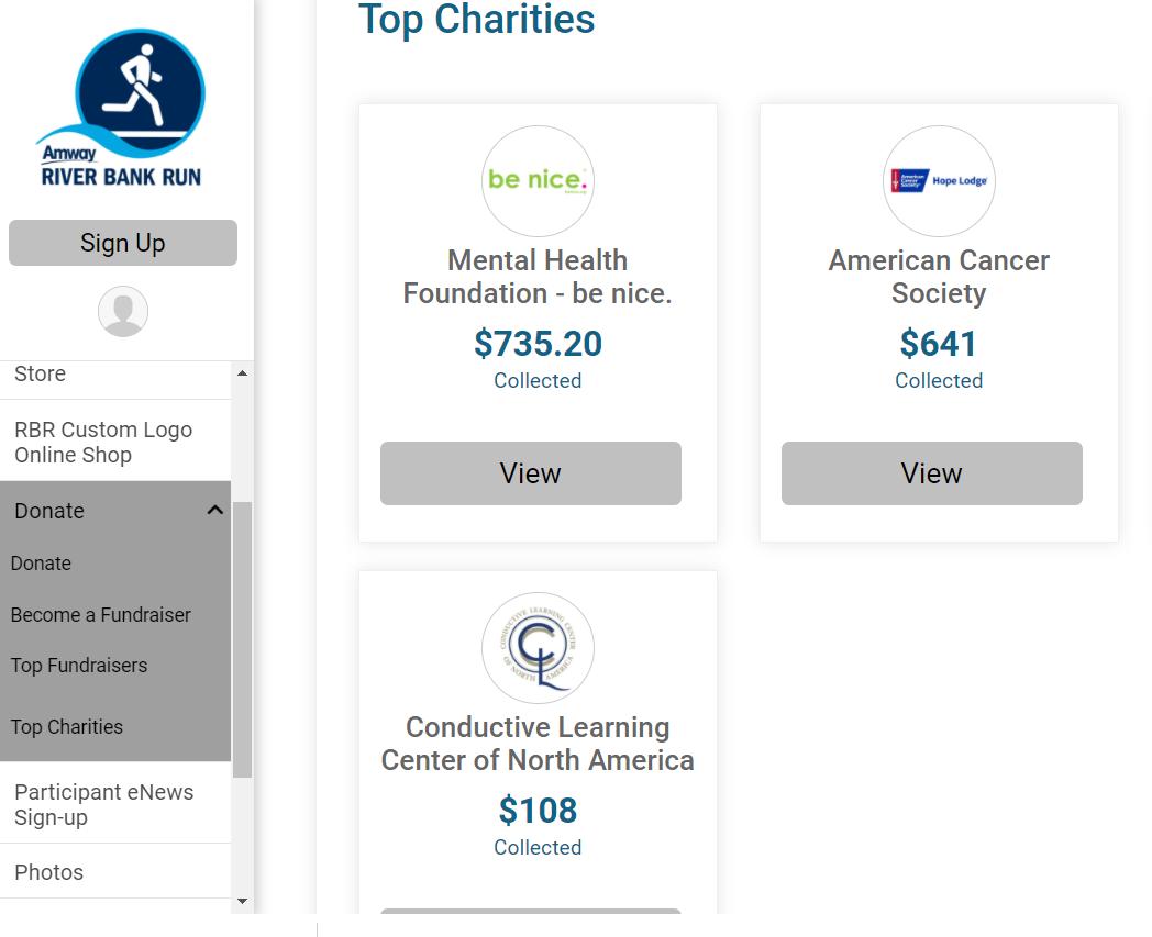 Top Charities Tab Screenshot 2